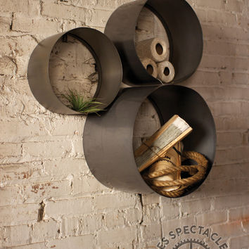 Set Of 3 Metal Round Wall Cubbies
