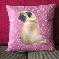 Life size pug pink pillow cover - fits pillow 50x50cm / 20x20in