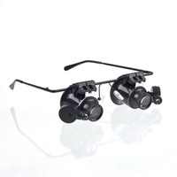 New Magnifying Glass Double Eye Watches Repair Microscope Tools Glasses Type 20X Watch Repair Magnifier with LED Light