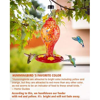 Red and Orange Hand Blown Glass Hummingbird Feeder - Holds 36 oz of Nectar