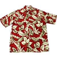 Vintage Pierre Cardin Red Rayon Hawaiian Shirt Mens Size Large