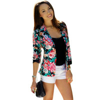 Casual Women One Button Jacket Slim Casual Business Blazer Suit Floral Coat Outwear SM6