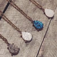 Bronze tone teardrop druzy necklace