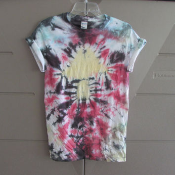 Trippy Yellow Mushroom Tie Dyed Unisex Tee Shirt