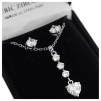"""Eye Catching """"Lovely Valentine""""Dropping Tier Cubic Zirconia Necklace/Earring Set"""