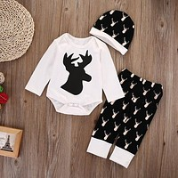 XMAS Clothing Set Newborn Baby Girls Boys Deer Tops Clothes Romper Pants Legging Hat Outfits