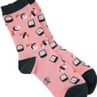 Sock It To Me Sushi Crew Socks (Pink/Green): Amazon.com: Clothing