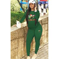 Adidas Fashion Women Casual Print Top Pants Trousers Set Two-Piece Sportswear Green