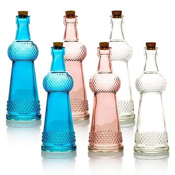 6pc Savannah Colorful Decorative Vintage Glass Bottles and Flower Vases Wedding Table and Centerpiece Display