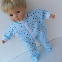 "American Girl Bitty Baby Clothes 15"" Doll Blue Brown Polka Dot Flannel Zip Up Feetie Pajamas Pjs Sleeper"