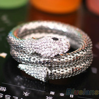 Vintage Retro Punk Rhinestone Curved Stretch Snake Cuff Bangle Bracelet  00WM