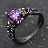 Charming Amethyst Ring Purple Zircon Fashion Women Wedding Flower Jewelry Black Gold Filled Engagement Rings Bague Femme RB0433