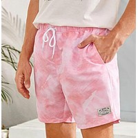 Fashion Casual Men Tie Dye Patched Drawstring Swim Trunks