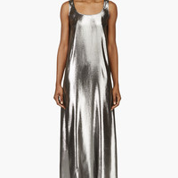 Richard Nicoll Metallic Silver Trapeze Maxi Cami Dress