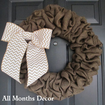 Brown Burlap Wreath with Chevron Burlap Bow, Rustic, Country Decor, Spring Easter Fall Winter, Year Round, Fall, Porch Door