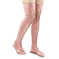 Happiness28 Mauve Pink Lycra Braided Flat Thong Sandal, Over Knee Thigh High Elastic Shaft