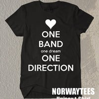 One Direction Shirt One Dream One Direction Symbol Printed on White and Black t-Shirt For Men Or Women Size TS 79