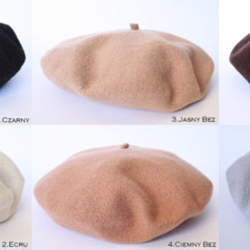 Wool BERET with antenna 29 colors, Vintage French style, HANDMADE hat, one size