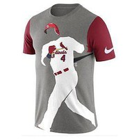 St. Louis Cardinals T-Shirt Mens Nike Player Silhouette Gray MLB