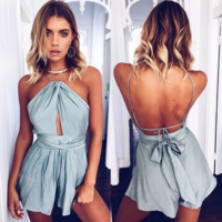 Cultivate one's morality sleeveless condole jumpsuits