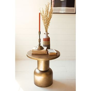 Antique Brass Metal Accent Table