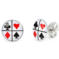 Playing Cards Graphic Stud Earrings for Men