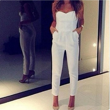 Fashion 2016 plus size summer women white black sexy jumpsuits capris sleeveless bodycon club wear rompers strapless pants