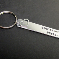 You're My Person with Keychain, Hand Stamped Aluminum Key Chain for Couples or Best Friends