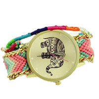 Women's Tribal Elephant Print Gold Dial Wool Cloth Braid Chain Bracelet Watch