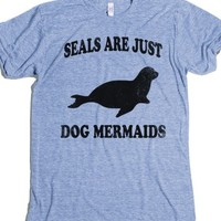 Seals Are Just Dog Mermaids (Vintage Shirt)-Athletic Blue T-Shirt