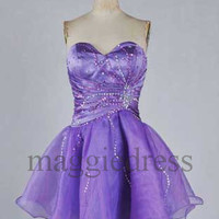 Custom Purple Beaded Short Prom Dresess Evening Dresees Party Dresses Wedding Party Dress Homecoming Dresses Cocktail Dresses