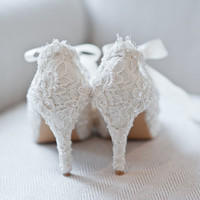 ANASTASIA Bridal vintage Victorian style white shoes hand decorated with lace, pearls, sequins  - perfect for wedding