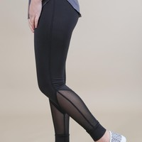 Mesh Calf High Waisted Legging, Black