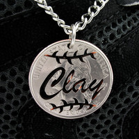 Custom Name Baseball Quarter, hand cut coin