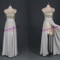 2014 champagne chiffon prom dresses with gold sequins,unique one shoulder gowns for holiday party,chic cheap homecoming dress hot.