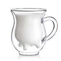 niceEshop(TM) Creative cows high-temperature double-layer glass cup