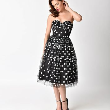 Janie Bryant For Unique Vintage Black & White Dot Strapless Janie Swing Dress