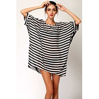 fhotwinter19 new style long bat sleeve black and white striped dress