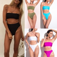 Summer Beach Sexy Ladies Pure Color Strapless High Waist Two Piece Bikini Swimsuit Swimwear (8-Color)