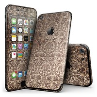 Grungy Brown and Tan Horizontal Rococo Pattern - 4-Piece Skin Kit for the iPhone 7 or 7 Plus