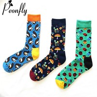 PEONFLY Fashion funny novelty men sock 2018 Man Personality Cartoon Beatles Squirrel Mushroom Pattern Male casual Cotton Socks