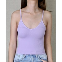 Rebecca Ribbed V-Neck Crop Top in More Colors