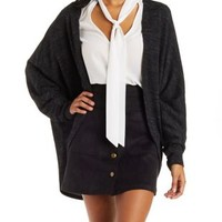 Marled Knit Coocoon Cardigan by Charlotte Russe