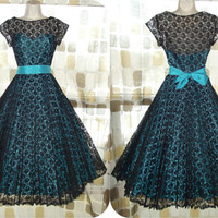 Vintage 50s 60s AMAZING Turquoise & Black Lace Sweetheart Illusion Party Dress Full Sweep Knife Pleat Pin-Up VLV S/M 8