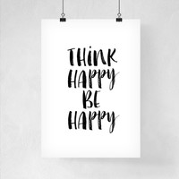 Wall Art Dorm Decor Think Happy By Happy Printable Art Back to School Wall Art Print Poster Dorm Decor Wall Art
