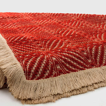 Vintage Woven Blanket Overshot Double Bow Knot Pattern Rust Red Wool Natural Cotton Fringe