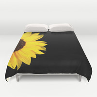 colored summer ~ sunflower black Duvet Cover by Steffi ~ findsFUNDSTUECKE