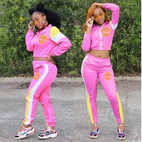 Timerland New Popular Women Casual Round Collar Top Pants Set Two-Piece pink