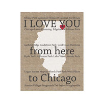 I Love You Chicago Print- I love you from, from here to Chicago, chicago art print, friend moving away, canvas long distance