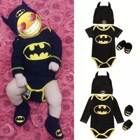 Newborn Toddler Baby Boys Girls Clothes Batman Outfits Cotton Short sleeves Rompers+Shoes+Hat Casual Clothing 3Pcs Set Outfits